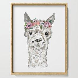 Lovely Llama, Llama Art, Llama Illustration, Boho Llama, Bohemian, Floral Crown, Hand Drawn Serving Tray