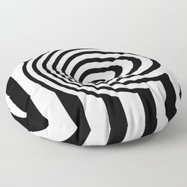 Black And White Op Art Graphic Floor Pillow