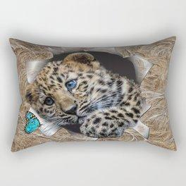 Baby Leopard & Blue Butterfly Rectangular Pillow