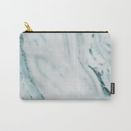 Teal Streaked Marble Carry-All Pouch