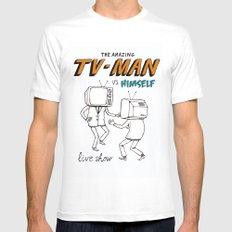 tv man vs himself White MEDIUM Mens Fitted Tee