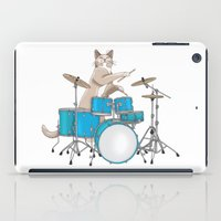 drums iPad Cases featuring Cat Playing Drums - Blue by Ornaart