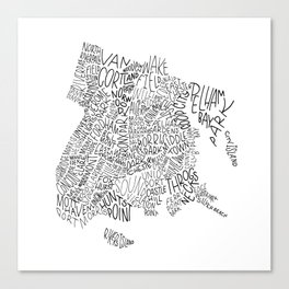 Bronx - Hand Lettered Map Canvas Print