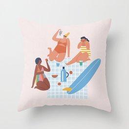 Surf sistas Throw Pillow