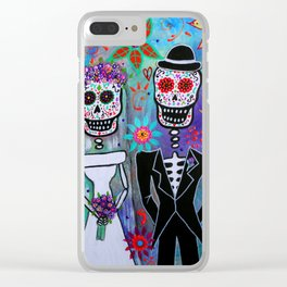 Dia de los Muertos Wedding Couple Painting Clear iPhone Case