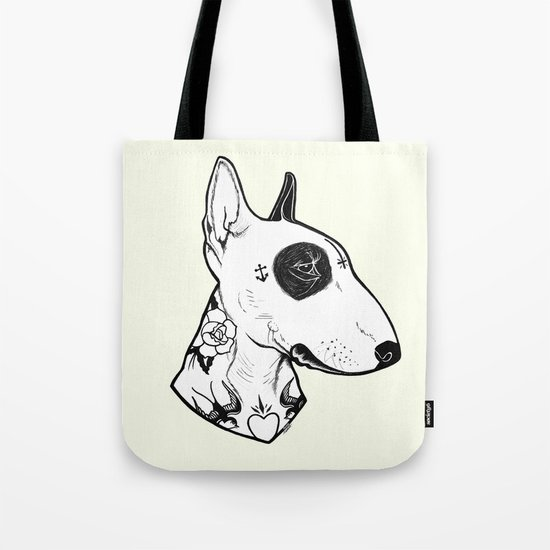 Bull Terrier dog Tattooed Tote Bag