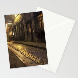 Cobbles street at night Stationery Cards