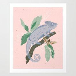Blue Chameleon Art Print