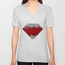 Shiny Red Texture With Silver Sparkles Unisex V-Neck