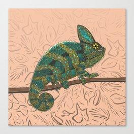 veiled chameleon peach Canvas Print