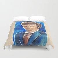 david tennant Duvet Covers featuring David Tennant 10th Doctor Who by Tiffany Willis