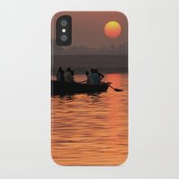 rowing iPhone & iPod Cases featuring Rowing Boat on the Ganges at Sunrise by Serenity Photography