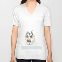 diver V-neck T-shirts featuring Diver Dog by Cecilia Sánchez
