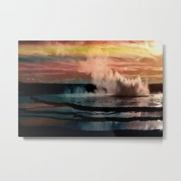Old Faithful geyser, Yellowstone Park, Wyoming, October Red and Gold Sunset landscape painting Metal Print