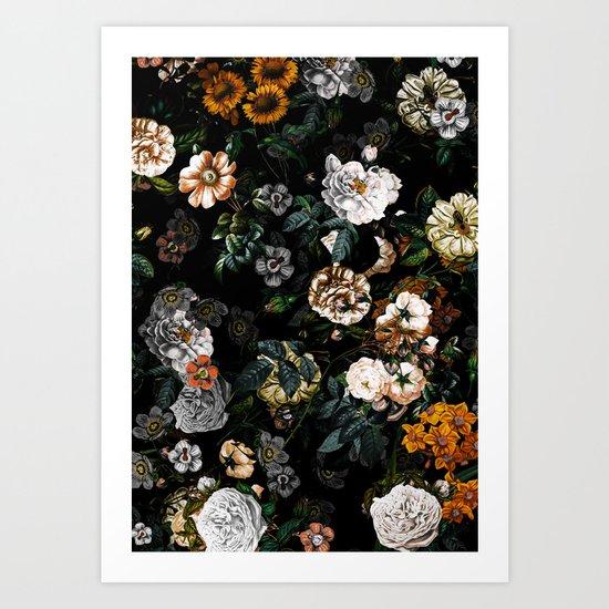 Floral Night Garden Art Print
