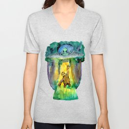 alien and sloth in the forest Unisex V-Neck