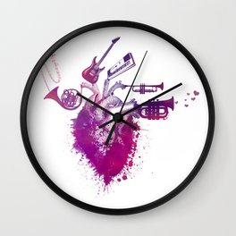 I love music red Wall Clock