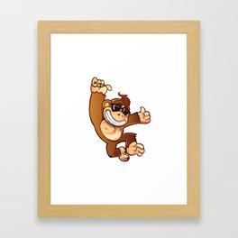 Illustration of Cartoon Monkey Framed Art Print