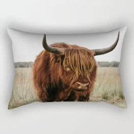 Highland Cow in nature | Wild Scottish Highlander, cattle in the Netherlands | Wild animals | Fine art travel and nature photography art print Rectangular Pillow