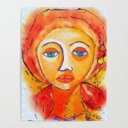 Big Eyed Woman Portrait Poster