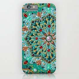 Mint and gold flower mandala with red beads iPhone Case