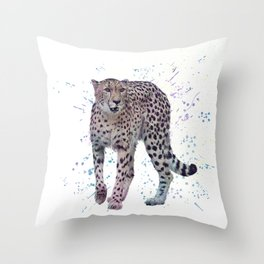 Cheetah. Digital watercolor painting on white background Throw Pillow