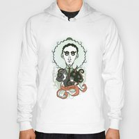 lovecraft Hoodies featuring Lovecraft Holy Writer by roberto lanznaster