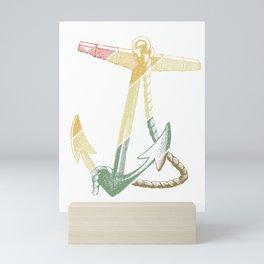 Vintage Retro Anchor Nautical Boating Sailing Gift Mini Art Print