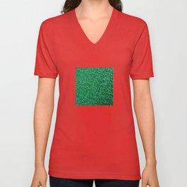 Green  sequins. Unisex V-Neck