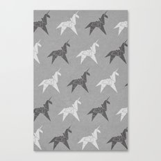 Origami Unicorn Grey Canvas Print