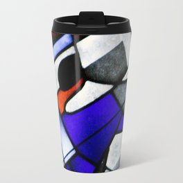 Red and Blue Montreal Stain Glass Window Travel Mug