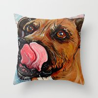 pit bull Throw Pillows featuring Pit Bull by WOOF Factory