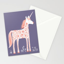 Unicorn with Flowers Stationery Cards