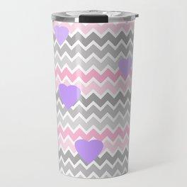 Pink Grey Ombre Chevron with Purple Hearts Travel Mug