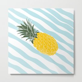 Vintage Pinapples on tropical beach. Abstract hand drawn illustration pattern. Metal Print