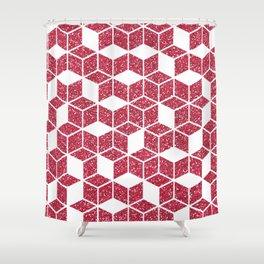 Pink Glitter Cube Shower Curtain