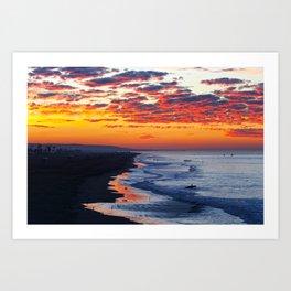 Sunrise Huntington Beach Pier   12/12/13 Art Print