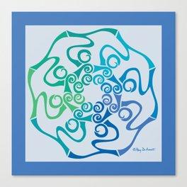 Hope Flower Mandala - Blue Green Turquoise Framed Canvas Print