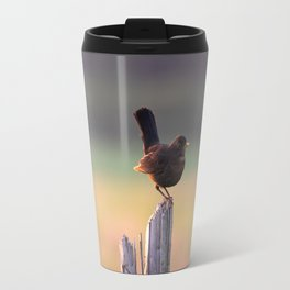 Blackbird on a Wooden Post Travel Mug