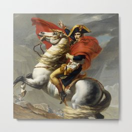 Napoleon Crossing the Alps by Jacques Louis David Metal Print