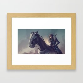 Roe sitting on a horse BLUE Framed Art Print