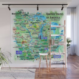 USA Midwest States Travel Map MN WI MI IA KY IL IN OH MO With_Highlights Wall Mural