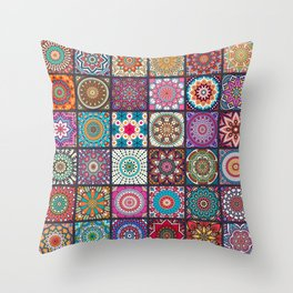 Boho Patchwork Mandela Pattern Throw Pillow