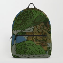 Roses Illustration in Green and Blue Backpack