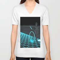 grid V-neck T-shirts featuring The Grid by Karolis Butenas