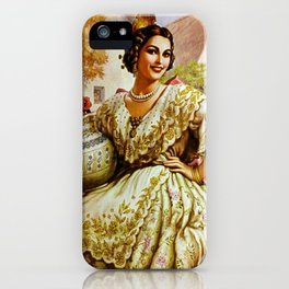Mexican Calendar Girl in Embroidered Dress by Jesus Helguera iPhone Case