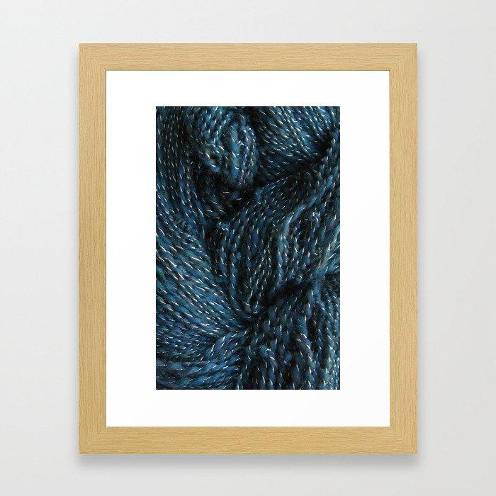 Navy Night Sky Sparkle Hand Spun Yarn Framed Art Print