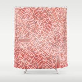 Peach echo and white swirls doodles Shower Curtain