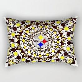 Football Gold and Black Mandala Rectangular Pillow