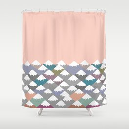 Nature background with Mountain landscape. Gray, pink, blue navy mountain with snow-capped peaks. Shower Curtain